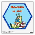 Etiqueta de la pared de la escuela de la lectura d