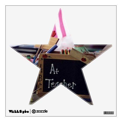 Etiqueta de la pared de la estrella 1 del profesor vinilo
