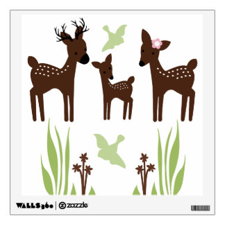 Etiqueta de la pared de la familia de los ciervos  vinilo