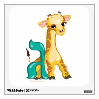 Etiqueta de la pared de la jirafa de la apuesta de vinilo