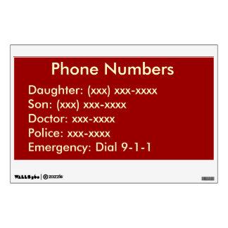 Etiqueta de la pared de la lista del teléfono vinilo decorativo