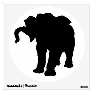 Etiqueta de la pared de la silueta del elefante