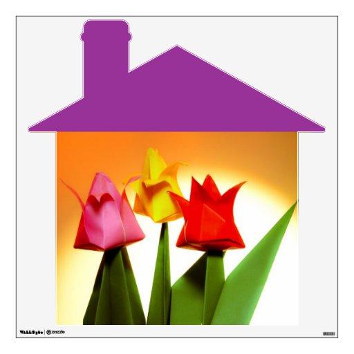 Etiqueta de la pared de las flores de la casa y de