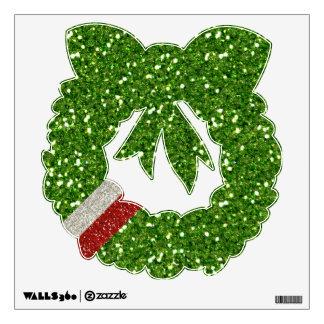 Etiqueta de la pared de los brillos del verde del  vinilo decorativo