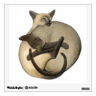 Etiqueta de la pared de los gatos siameses de Yin