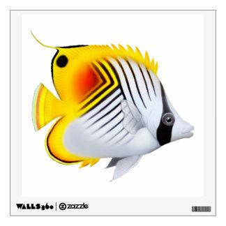 Etiqueta de la pared de los pescados de la maripos
