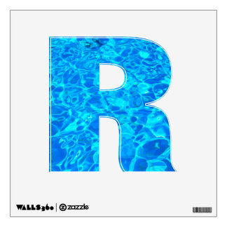 etiqueta de la pared del alfabeto del agua azul vinilo