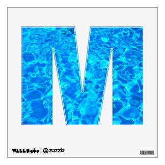 etiqueta de la pared del alfabeto del agua azul vinilo adhesivo