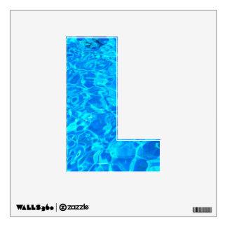 etiqueta de la pared del alfabeto del agua azul vinilo decorativo
