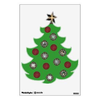 Etiqueta de la pared del árbol de navidad de la fo