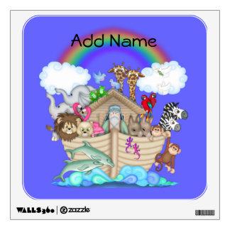 Etiqueta de la pared del arco iris de la arca de N