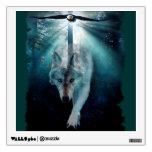 Etiqueta de la pared del arte del lobo y de la fau