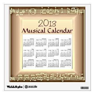 Etiqueta de la pared del calendario de 2013 Musica