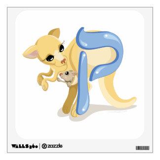 Etiqueta de la pared del canguro del alfabeto de l vinilo decorativo
