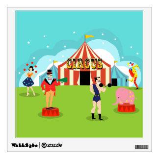 Etiqueta de la pared del circo del vintage