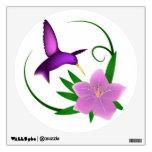 Etiqueta de la pared del colibrí