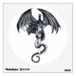 Etiqueta de la pared del dragón y de la espada