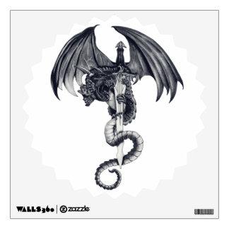 Etiqueta de la pared del dragón y de la espada vinilo adhesivo