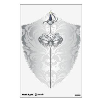 Etiqueta de la pared del escudo de la espada de la