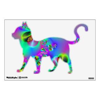 Etiqueta de la pared del gato del jardín del zen vinilo