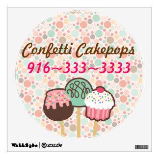 Etiqueta de la pared del negocio de Cakepops del Vinilo Adhesivo