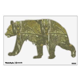 Etiqueta de la pared del oso del camuflaje vinilo