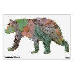Etiqueta de la pared del oso del piso del bosque