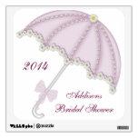 Etiqueta de la pared del paraguas de la ducha rosa