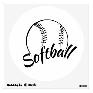 Etiqueta de la pared del softball vinilo decorativo