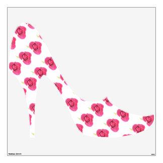 Etiqueta de la pared del tacón alto de los rosas r vinilo