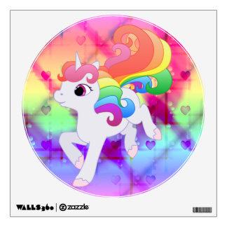 Etiqueta de la pared del unicornio del arco iris