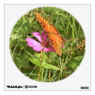 Etiqueta de la pared del Zinnia y de la mariposa
