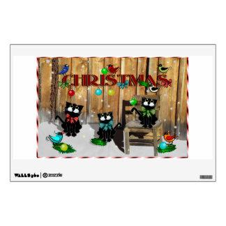 Etiqueta de la pared - navidad del gato del graner vinilo decorativo