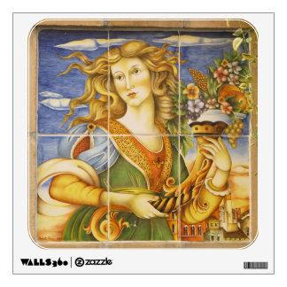 Etiqueta de la pared--Señora de la teja de Deruta
