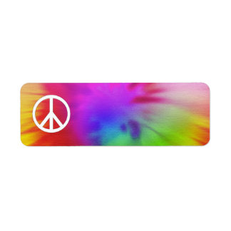 Etiqueta de la paz del teñido anudado etiqueta de remite
