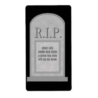 Etiqueta de la piedra sepulcral de Halloween Fred Etiqueta De Envío