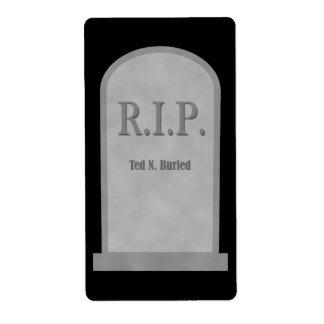Etiqueta de la piedra sepulcral de Halloween Ted Etiqueta De Envío