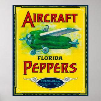 Etiqueta de la pimienta de los aviones impresiones