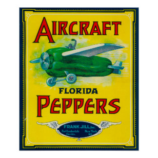 Etiqueta de la pimienta de los aviones póster