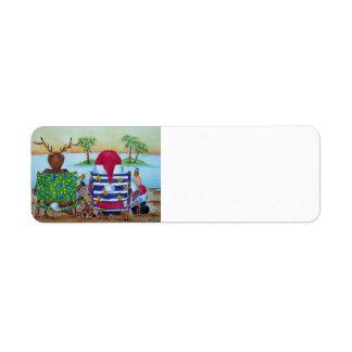 Etiqueta de la playa de Santa y del reno Etiquetas De Remite