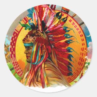 Etiqueta de la pluma del rojo indio de la caja de