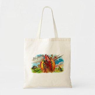 Etiqueta de la pluma del rojo indio de la caja de bolsa lienzo