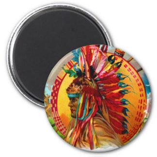Etiqueta de la pluma del rojo indio de la caja de imán redondo 5 cm