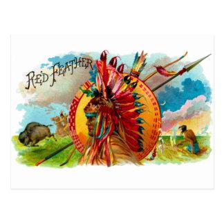 Etiqueta de la pluma del rojo indio de la caja de tarjetas postales
