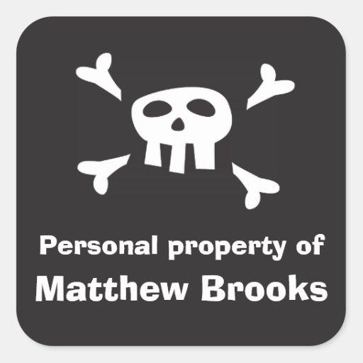 Etiqueta de la propiedad personal de la bandera de