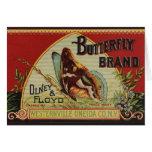 Etiqueta de la publicidad de la mariposa del vinta tarjeta de felicitación