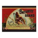 Etiqueta de la publicidad de la mariposa del vinta postales