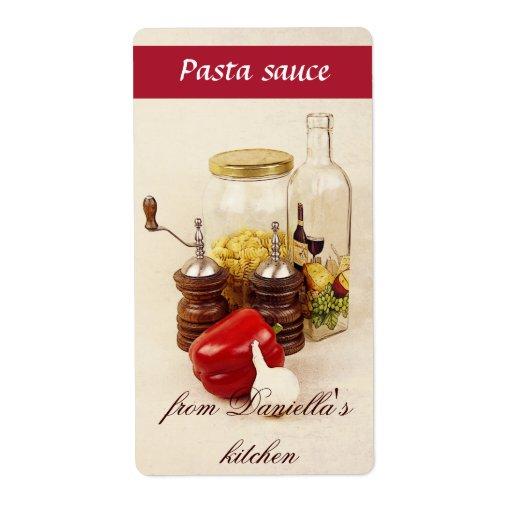 Etiqueta de la salsa para pasta de las pastas, de  etiquetas de envío