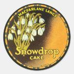 Etiqueta de la torta de Snowdrop del vintage
