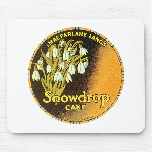 Etiqueta de la torta de Snowdrop del vintage Alfombrilla De Raton